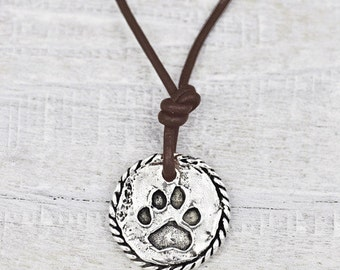 Love Has Paws Necklace- Dog Lover Jewelry- Paw Print Necklace - N624