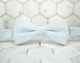 Light Blue Bow Ties. Pre Tied Sky Blue Bow Tie. Blue Glen Plaid Bowtie. Light blue plaid bowties. Mens Blue Wedding Bow Ties. Blue Plaid.