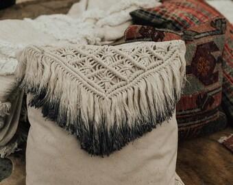 """Macramé fringe pillow - """"Indie"""""""