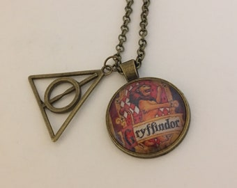 Harry Potter Inspired, Hogwarts Houses Cabochon Necklace