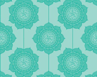 Cottage Wallpaper in Teal Cotton Fabric by The Quilted Fish for Riley Blake Designs - 1 Yard