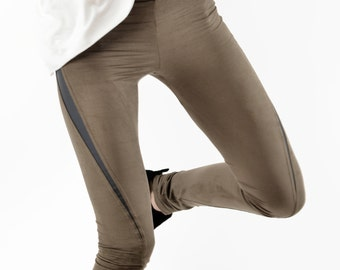 SLU twisted leggings tights / vegan suede leather / Stretch skinny pants / Taupe with grey inserts /extra long size M