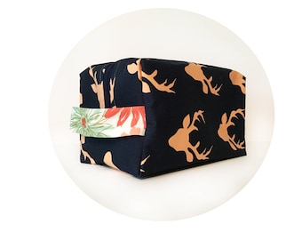 Makeup Bag. Large Waterproof Cosmetic Bag. Rose Gold Deer Print Bag. Toiletry Bag. Zippered Bag.