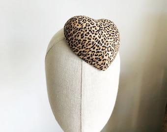 Mini Leopard Print Heart Cocktail Hat Faux Suede Millinery Fascinator