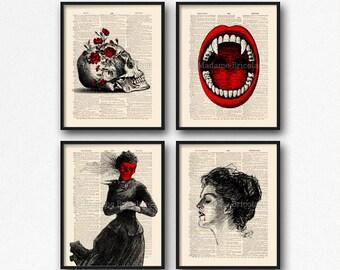 Vampire Print Set, Book Lover Gift Set, Vampire Fan Gift, Gothic Girl Gift, College Wall Decor, Print Set Gift, Lady Vampire, Christmas  S02