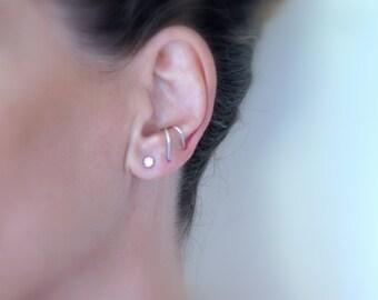 Thin suspender earring, Sterling silver ear suspender,  Delicate SINGLE suspender earring for her, Minimalist earrings