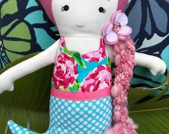 Mermaid doll,  fabric doll, rag doll, cloth doll, plushie- Ariana