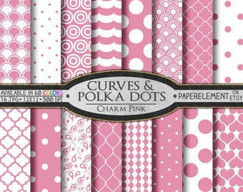 Pink Digital Paper: Charm Pink Digital Polka Dot Pattern - Pink Heart Scrapbook Paper with Printable Pink Quatrefoil Backdrop