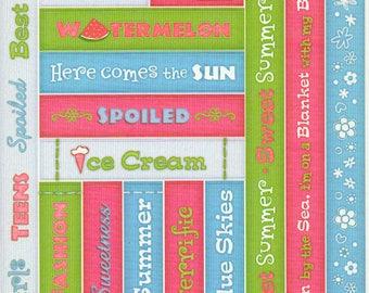 Sweet Summer Treats Titles Tags Borders Bo Bunny  Cardstock Scrapbook Stickers Embellishments Card Making