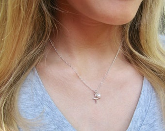Sterling Silver Cross Necklace - Cross Jewelry - Adult Baptism Gift - Simple Cross Pendant - Cross with Pearl - Small Silver Cross