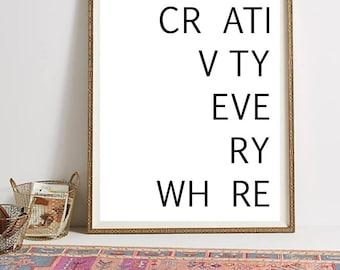 Creativity Poster, Creativity Print, Tumblr Room Decor, Creative Decor, Office Wall Art, Minimalist Wall Art, Inspirational Art, Download