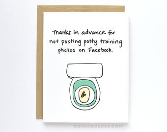 Funny New Baby Card - Card for Expecting Parents - Potty Training