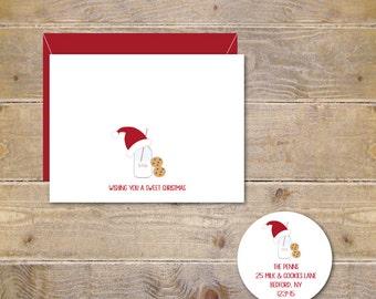 Christmas Cards . Holiday Cards . Cards Christmas . Christmas Card Set - Santa's Milk & Cookies
