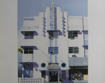 Original 1988 Exhibition Poster - Francis Kyle Gallery Art Deco Paintings of Miamai and the Florida Keys