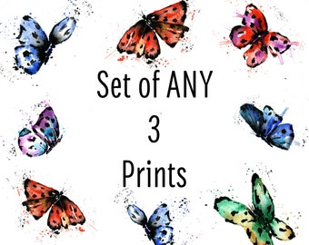 SET of ANY 3 PRINTS, gallery wall, watercolours, watercolors, Cottage decor, gifts under 20, nursery decor, nursery art, woodland theme