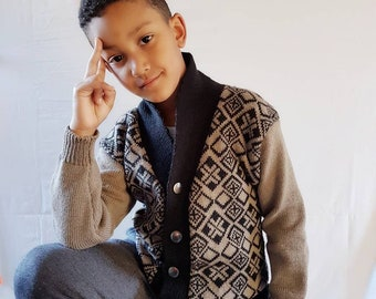 Fairisle Knit Cardigan, Boys Cardigan, Boys Fashion, Boys Gift