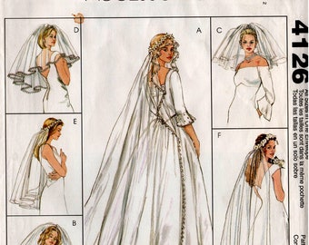 Uncut BRIDAL VEILS PATTERN McCalls #4126 Wedding 6 Styles Bride Sewing
