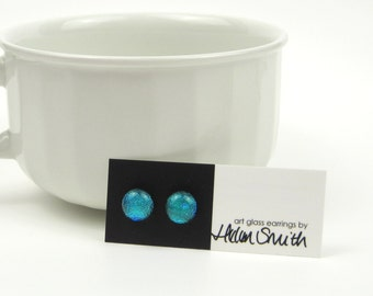 Turquoise blue glass earrings, fused glass and sterling silver stud earrings