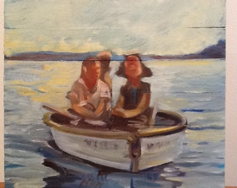 Small Stories: Girls in Boat, Original oil painting