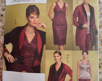 Vogue V8170 Five Easy Pieces Misses Jacket, Top, Dress and Skirt Sewing Pattern Size 8-12 UNCUT