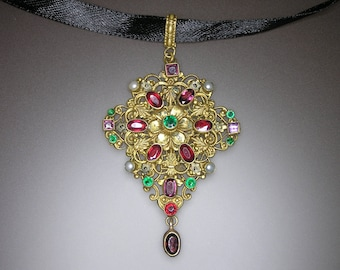 Austro-Hungarian Gilded Brass Philigree Medallion Decorated with Garnet, Amethyst Stones