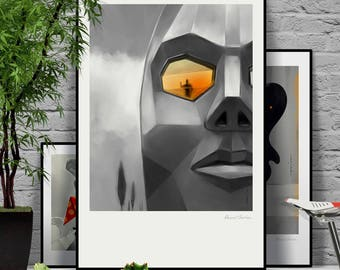 Ego House. Original illustration art poster giclée print signed by Paweł Jońca. Architect living in a house in a shape of his own head.