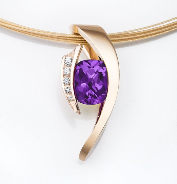 amethyst necklace - 14k gold - diamonds - February birthstone - gemstone pendant - statement necklace - designer jewelry - 3374