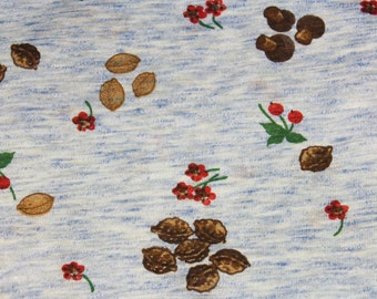 Novelty Print Fabric - Almost 1 Yard x 48 Inches Wide - 1970s Cherries Nuts & Mushrooms - 70s Novelty Knit - Brindled Blue Brown Red - 45686