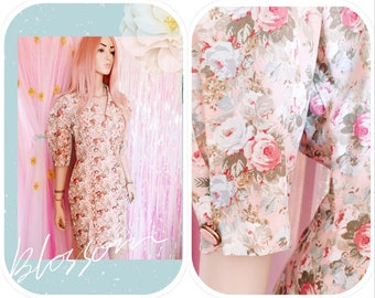 BROOKS ATELIER New York - Pastel Garden Party Vintage Floral Dress 80s vintage clothing floral dress pastel cothing shabby cottage chic