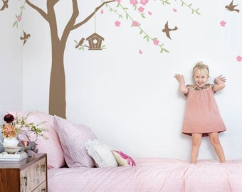 Cherry blossom tree with falling vines flowers birds and birdhouse wall decal sticker for nursery