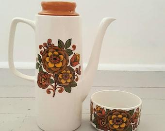 Vintage Coffee Pot Sugar Bowl British Anchor Hostess Camelot floral England
