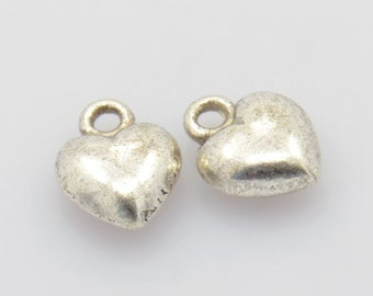 5 Antiqued Silver Puffed Heart Charms