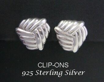 Earrings 027: Sterling Silver Clip-On Earrings in a Weave Design | Beautiful Silver Earrings, Clip-on Earrings Style | Gifts for Women, Mum