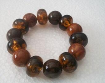 Vintage Root Beer Brown Jumbo Beaded Bracelet Costume Jewelry