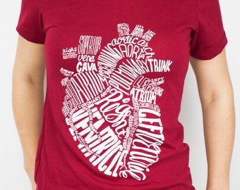 Anatomical Heart T-Shirt | Nursing, Future Nurse, Anatomy, Cardiac, Cardiology, Medical, Science Tee Shirt, Gifts for Her, Girlfriend Gift