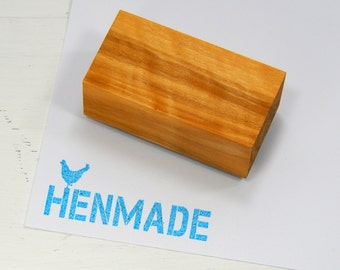 Stencil Font + Chicken HENMADE Olive Wood Stamp