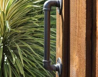 Vintage Indoors Outdoors Black Pipe Steel Sliding Barn Gate Door Handle Wood Door Handle Pull One Side
