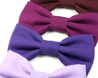 Wedding Dog Bow Tie Cat Bowtie Purple Burgunday Berry Deep Red Wine Removable Dog Bowtie