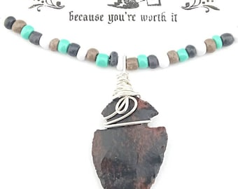 Arrowhead Necklace, Turquoise Silver Obsidian Pendant Necklace Handmade, Pendant, Wire Wrapped Arrowhead Pendant, Jewelry.