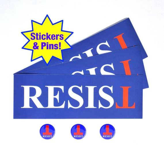 Resist Anti Trump Bumper Sticker Buttonpin Combo Pack