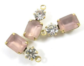 2 - Vintage Glass Octagon Stone and Swarovski Crystal in 1 Ring 2 Stones Brass Prong Settings - Frosted Pink & Crystal - 16x6mm .