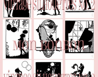 Vintage Victorian Silhouettes No. 2 Digital Collage Sheet - INSTANT DOWNLOAD