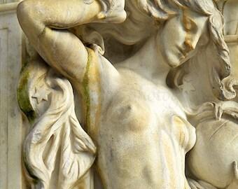 Rustic Elegant Art Nouveau Print, Female Nude Goddess Statue Fountain, Washington DC Architecture Art,Rustic Wall Art,Boudoir Art,Boho Decor