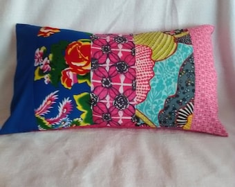 patchwork Blue/Pink Flower Pillow