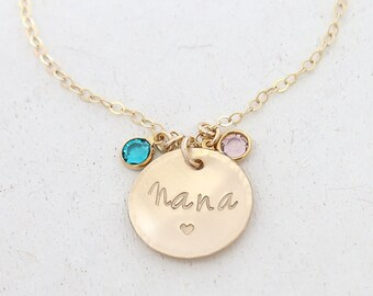Birthstone Necklace for Grandma - Nana Mother's Day Gift From kids - from granddaughter - from Grandson - from Children - Gigi Necklace