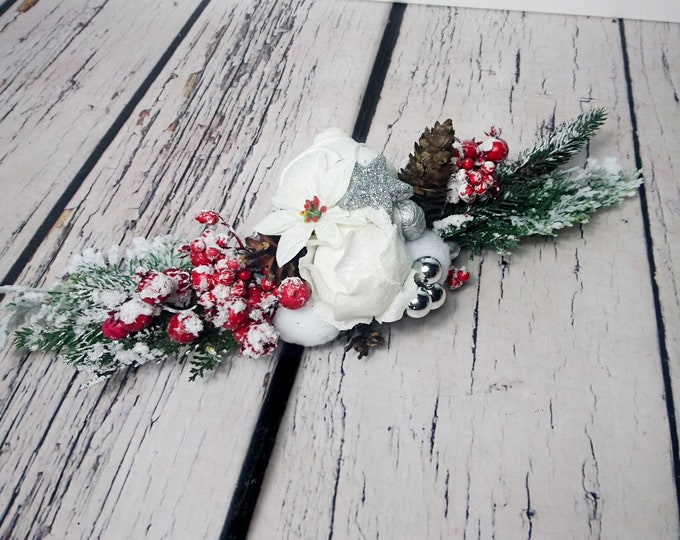 Snowy fir Christmas wedding centerpiece table decor, red berries pine cone glitter ball ornament, Silver white frozen cedar rose winter