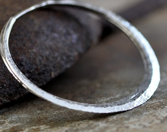 2 inch Large sterling silver hoops,  raw silk or your choice of texture, endless style hoop earring, eco friendly