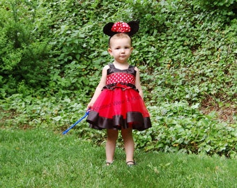 Minnie Tutu Dress: red & white polka dots black ruffle sparkle lined, adjustable, birthday party, meet and greet, trip, halloween costume