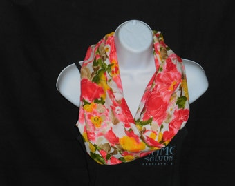 White with Floral Print Infinity Scarf