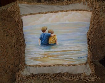 Brothers on Beach Hand Painted Decorative Pillow